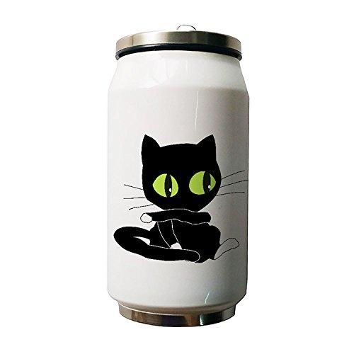 Okoukiu Chat mignon Design Animal double Thermos en acier inoxydable Bouteille d'eau, 280ml