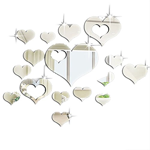 Ardisle 16PCS Multi-size Heart Mirror Tile Decal Sticker Wall Art Craft Acrylic Self Adhesive Mosaics Beautiful Modern Venetian