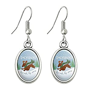 GRAPHICS & MORE Dachshund Dashing Through The Snow Winter Christmas Novelty Dangling Drop Oval Charm Earrings