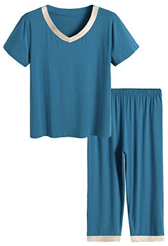 Latuza Women's Sleepwear Tops with Capri Pants Pajama Sets M Teal ()
