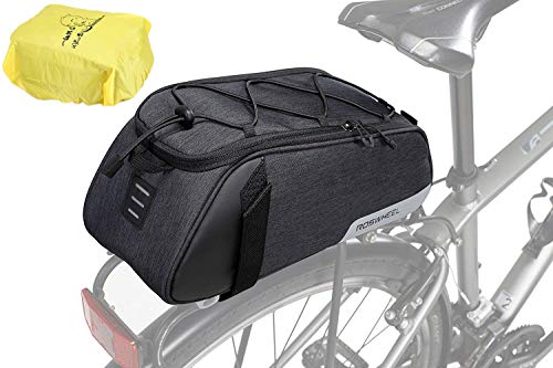 Bike Trunk Bag Bicycle Rear Rack Bag, Water Resistant Bike Commuter Carrier Trunk Bag with Shoulder Strap