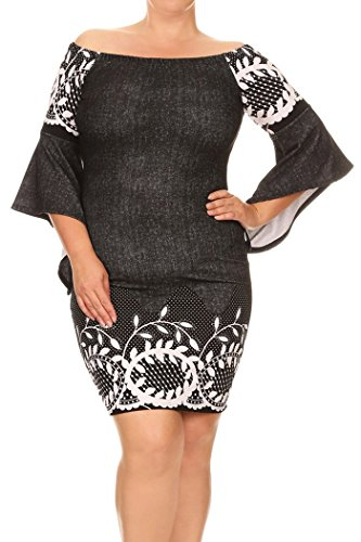 Womens Plus Size Border Print,Short Dress With Off The Shoulder Sleeves MADE IN USA (3X, Black/White Leaf Border)