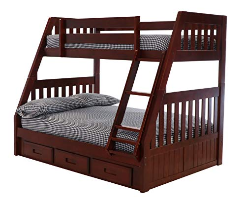 Discovery World Furniture 2818-2892 with 3 Drawer Storage Bunk Bed Twin Over Full Merlot