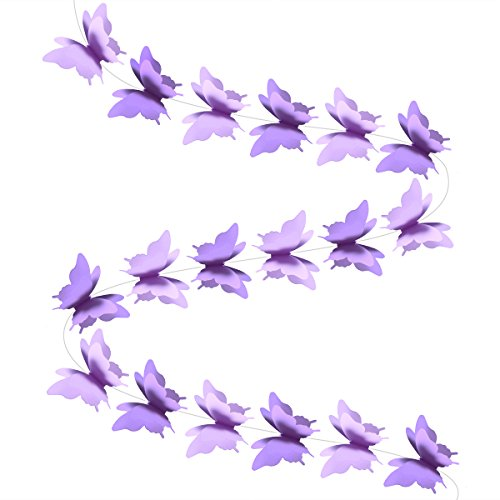 (LUOEM Paper Garland Butterfly Banner 3D Butterfly Bunting Garland for Wedding Birthday Party Baby Shower (Purple))