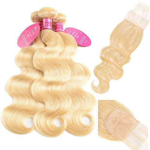 Aopusi 613 Honey Blonde Bundles with PU Silk Base Closure Brazilian Body Wave Human Hair 3 Bundles with 4×4 HD Invisible Lace Closure Match Skin Melt Fake Scalp Human Hair Free Part(14 16 18+12)