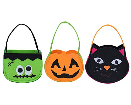 Set of 3 Halloween Candy Goody Bag Basket Bucket Treat or Trick Hand Bag Festival Party Bags (3)