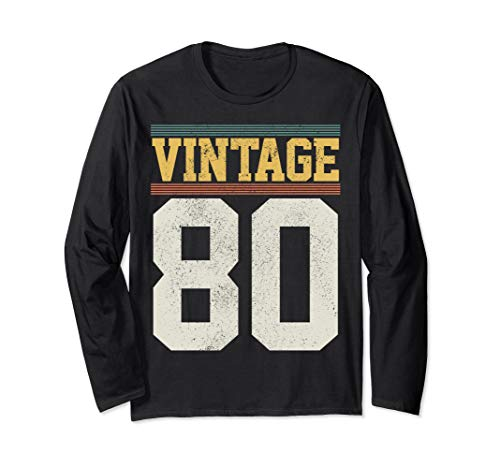 40th Birthday Gift Vintage 1980 Retro Jersey Number 40 Years Long Sleeve T-Shirt