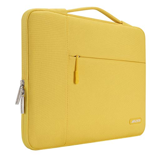 MOSISO Laptop Sleeve Compatible with 13-13.3 inch MacBook Air, MacBook Pro, Notebook Computer, Polyester Multifunctional Briefcase Handbag Carrying Case Cover Bag, Yellow