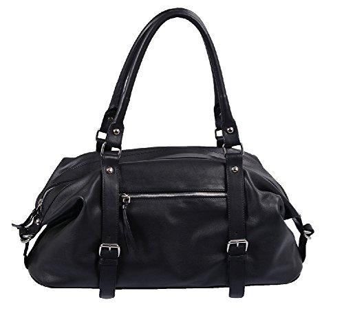 Damen Handtasche Lemondo Leder schwarz ca. 48 x 24 x 16 cm