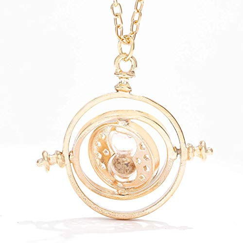 Sakytal Mini Time Turner Necklace Gold Cute Sand Glass Large Pendant Necklace Sand Clock Sweater Necklace Gift for Teen Girls Children (Gold)