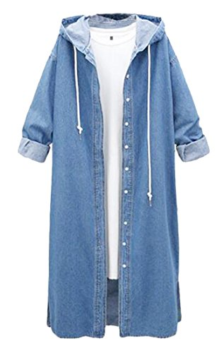 WAWAYA Women's Hooded Stylish Button Down Long Denim Jacket Jean Trench Coat Light Blue L Button Down Trench Coat