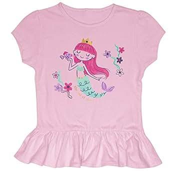 Stephen Joseph Unisex-Child Ruffled Jersey Shirt, Mermaid Short Sleeve Shirt - Pink - Small