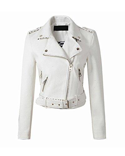 Fit Faux Leather Moto Biker Jacket Zipper Coat Casual Outerwear (XL, White) ()