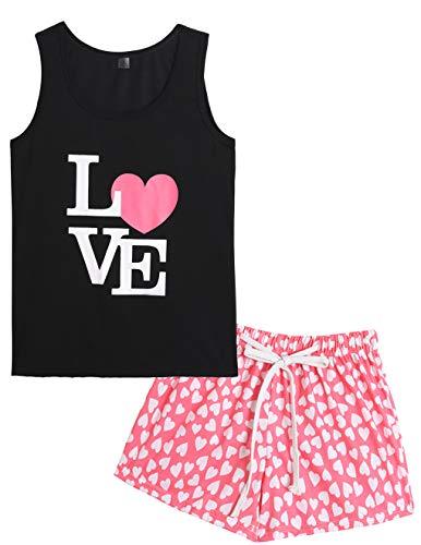 (VENTELAN Pajamas Women Summer Sleep Vest Cute Heart Sleepwear Soft Cool PJ Set (Medium, Pink Heart))