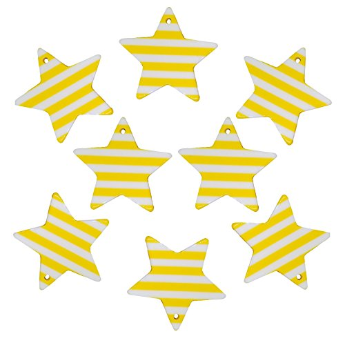 Charms Acrylic Star (37mm Mix Color Striped Stars Charms / Pendants Resin Acrylic, Pack of 8 pcs, for Jewelry Making, Craft DIY Project (Yellow))