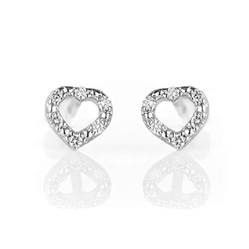Conflict Free, Authentic Lab Diamond Heart Shape Stud Earrings, 0.07 carats. Clustered Etched Design for Maximum Shine