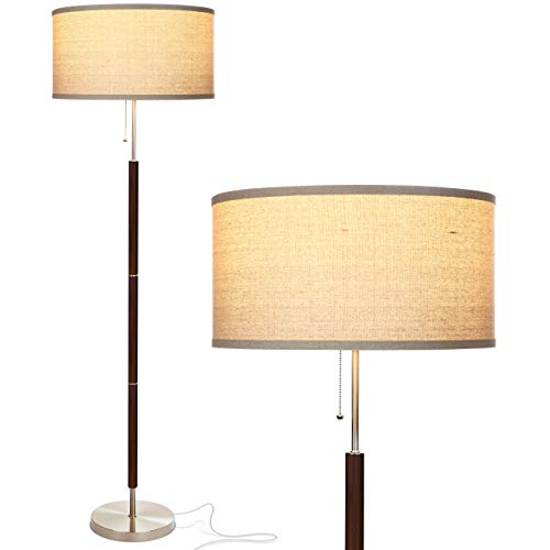Brightech Carter LED Mid Century Modern Floor Lamp - Contemporary Living Room Standing Light - Tall Pole, Drum Shade Lamp with Walnut Wood Finish - Hamilton Bronze Dimmer