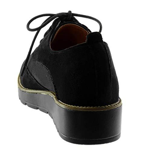 Angkorly Mode Paillettes 5 CM Talon Richelieu Plateforme Brillant Femme Chaussure matière bi Noir perforée Plateforme compensé 3 prwp5q