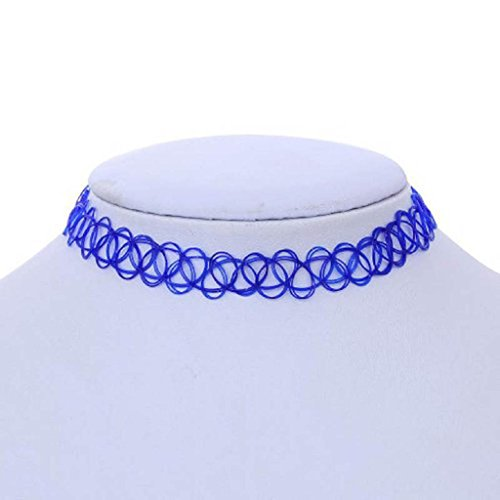 Price comparison product image Willsa Stretch Gothic Tattoo Henna Choker Hippy Pendant Necklace Elastic (Blue)