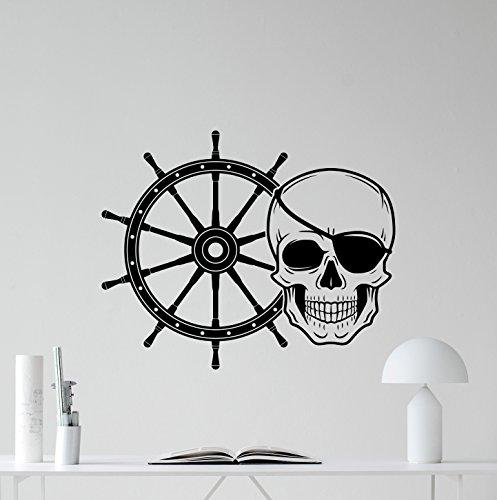 Pirate Skull Ship Wheel Wall Decal Pirate Jolly Roger Dead Skeleton Skull Logo Vinyl Sticker Halloween Horror Wall Decor Cool Wall Art Living Room Wall Design Modern Bedroom Wall Decor Mural 318xxx ()