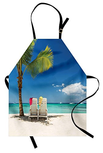 Beach Apron (Seaside Apron by Ambesonne, Relaxing Scene on Remote Beach with Palm Tree Chairs And Boats Panoramic Picture, Unisex Kitchen Bib Apron with Adjustable Neck for Cooking Baking Gardening, Blue Green)