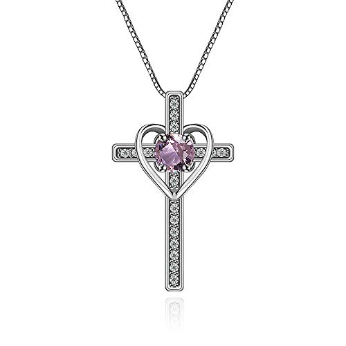 Ovlist 14k White Gold-Plated Round Cut Pink Crystal Cross Heart Pandent Necklace for Women 14k White Gold-Plated Round Cut Amethyst Cross Heart Pandent Necklace for Women 16
