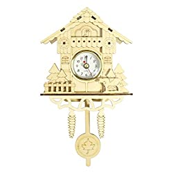 Cuckoo Inspired Wooden Hanging Pendulum Wall Clock, Natural Retro Decor, Accurate Time Keeping Quartz Movement, Light Brown, Forest House Design, No Bird Chiming Sound, Carbon Zinc Battery Recommended