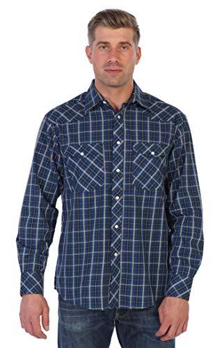 (Gioberti Men's Western Plaid Long Sleeve Shirt, Dark Blue/Black / White & Yellow Lines, Size)
