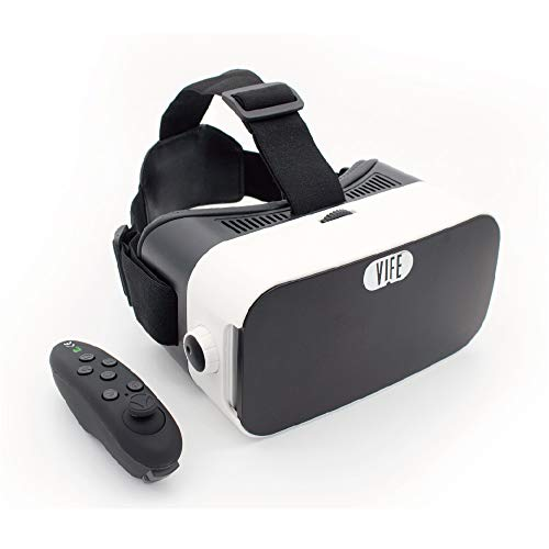 VIFE, Virtual Reality Headset,3D VR Glasses for Mobile Games and Video & Movies,with Bluetooth Remote Controller,Compatible 3.5-6.5 inch iPhone/Android Phone,Including iPhone,Samsung, LG,etc (White)