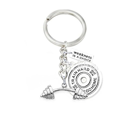 Price comparison product image Weight plate & dumbbell key hain , Weakness is a choice key hain, Inspirational Keyring