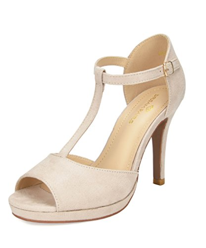 DREAM PAIRS Women's GAL_15 Nude Fashion Stiletos Heeled Sandals Size 8 B(M) US