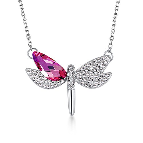 The Starry Night Red Austrian Crystal Flying Dragonfly Pendant Diamond Accented Silver Lady (Zunsport Grilles)