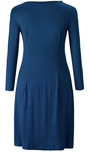 Kormei Femmes Occasionnels 3/4 Manches Longues Amincissent Encolure Ronde Robe Simple Tunique Top Bleu Marine