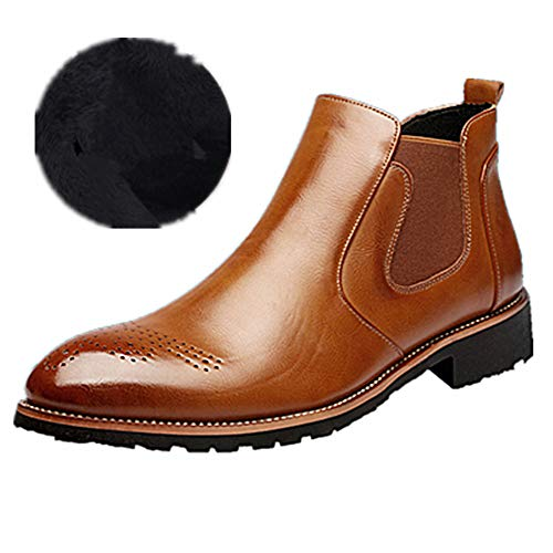 Mens Womens Leather Chelsea Martin Ankle Boots Brogues Business Dealer Dress Shoes with Fur Winter Autumn Black Brown Red 4-9 UK Brown-fur