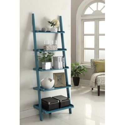 "Carlisle 72"" Leaning Bookcase by Charlton Home, Blue from Charlton Home"