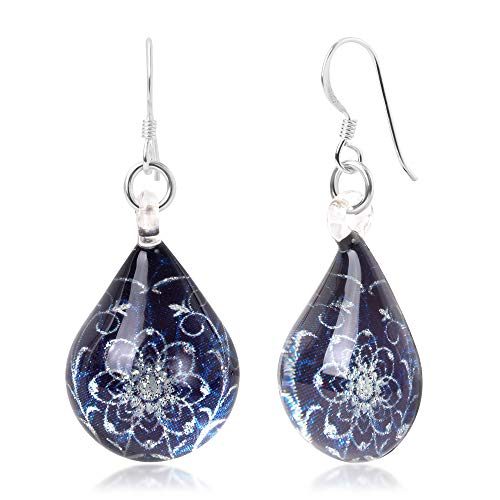 925 Sterling Silver Glass Jewelry Deep Blue Midnight Blossom Flower Dangle Teardrop Earrings ()