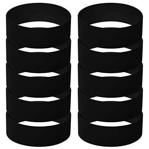 GOGO Silicone Wristbands 1 Inch Wide Blank Rubber Bracelets Punk Style Perfect for Concert-Black-1 Pack