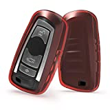 kwmobile Car Key Cover for BMW - Soft Crystal TPU Protective Key Fob Cover for BMW 3 Button Remote Control Car Key (only Keyless Go) - Red/Transparent