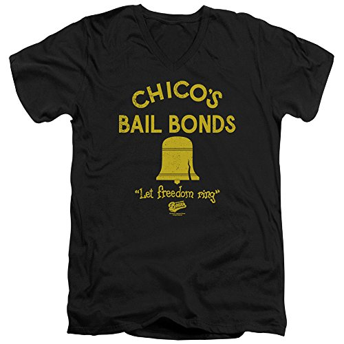 Bad News Bears Baseball Comedy Movie Chico's Bail Bonds Adult V-Neck T-Shirt Tee