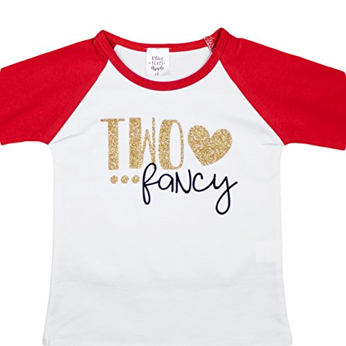 Girls 2nd Birthday Shirt TWO FANCY Red Baseball T Shirt Glitter Gold - Gold Coming Back Black Is