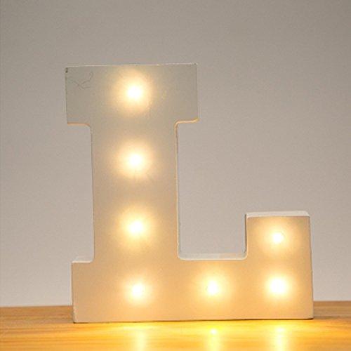 Hostweigh LED Light Wooden Alphabet Lights for Festival Decorative Letter Party Wedding (L) Joy Red Letters