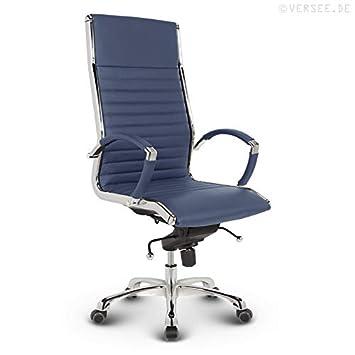 Versee Design Bürostuhl Chefsessel Montreal Echt Leder Blau