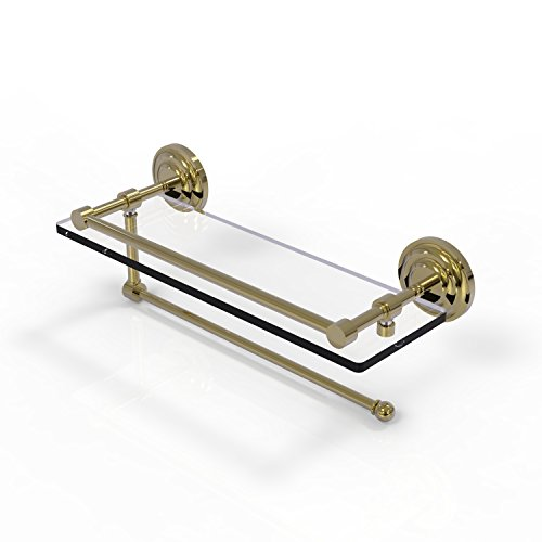 Allied Brass Prestige Que New Collection Paper Towel Holder with 16 Inch Gallery Glass Shelf PQN-1PT/16-GAL - Unlacquered Brass by Allied Precision Industries