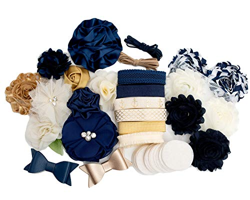 Sailor Girl : DIY Headband Making Station Kit | Makes 14+ Unique Hair Accessories | Baby Shower Toddler Tween| Shabby Chiffon Craft Flowers | Navy, Cream, Gold