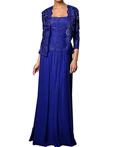 Plus Size Mother of The Groom Dresses for Beach Wedding Long Chiffon Evening Gown Royal Blue US20W
