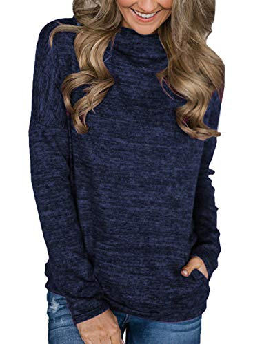 Unidear Womens Casual Cowl Neck Striped Long Sleeve Pullover Top Sweatshirt with Pocket Navy Blue XL