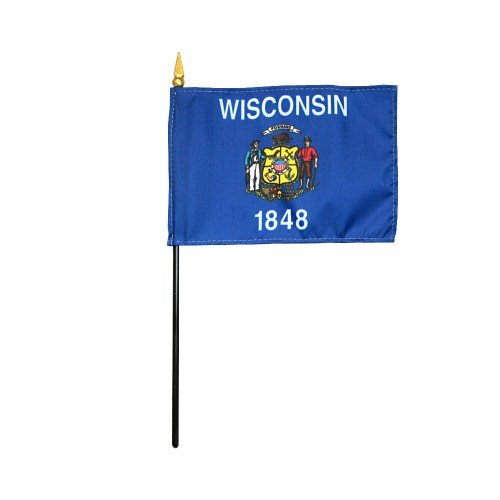 Wisconsin 1848 State Hand Held Desk Table Top Polyester Flag 4'' X 6'' on 10'' Black Plastic Staff with Gold Spear Tip (12 Pack) by EMPIRE