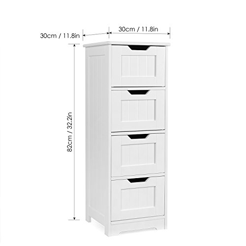 Homfa Bathroom Floor Cabinet Wooden Free Standing Storage Cabinet Side Organizer Unit With 4