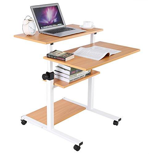 Mobile Standing Desk, Height Adjustable Sit Stand Workstation Standing Computer Desk Converter Rolling Presentation Cart for Home Office,Wood