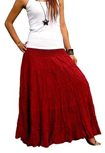 Billy's Thai Shop Women's Long Maxi Pleated Skirt with Elastic Smocked Waist One Size Fits Most. Bordeaux